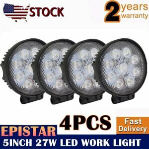 4pcs Round 9 Led Work Light Bar Fog Driving Lamp Truck Tractor For Jeep Suv 5in