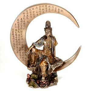 Kwan Yin On Crescent Moon Statue 8 25 Bronze Figurine High Quality Kuan Guan