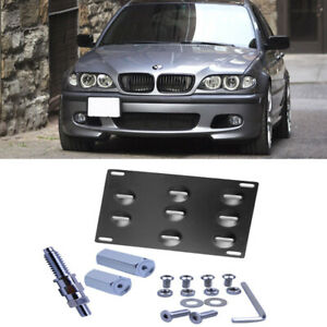 Tow Hook Hole Cover License Plate Bracket Mount Holder For 99 06 Bmw E46