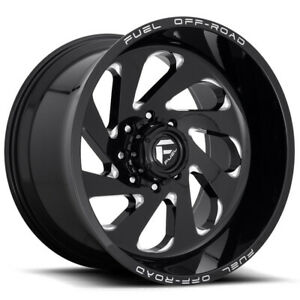 4 New 22 Fuel Vortex D637 Wheels 22x12 6x135 44 Black Milled Rims