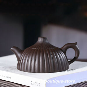 Chinese Yixing Zisha Pottery 200cc Purple Clay Teapot Handmade Stripe Pot