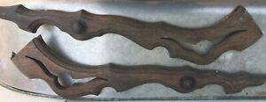 2 Antique Victorian Solid Walnut Trim Pieces Pediments Salvage Wood Repurpose