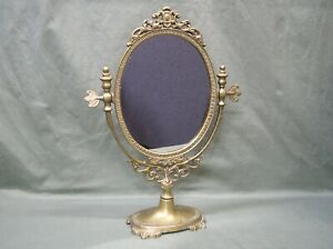 Vintage Pedestal Victorian Style Solid Brass Vanity Stand Up Swivel Oval Mirror