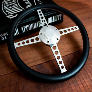 14 Polished Lakester Black Half Wrap Steering Wheel Chevy Muscle C10 Hot Rod