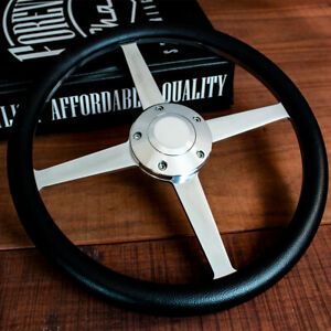 14 Polished Cross Black Half Wrap Steering Wheel Chevy Muscle C10 Hot Rod