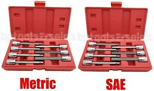 14pc 3 8 Dr Extra Long Hex Bit Socket Set Metric Sae Long Hand Tool Socket