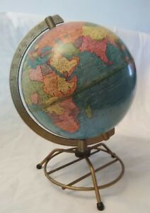 Vintage Mid Century 8 Terrestrial World Globe Made In Usa George F Cram Co