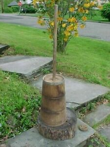 19thc Primitive Floor Style Country Wooden Butter Churn 18 X 8