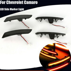 4x Car Smoked Led Side Marker Lights Front rear For 2016 2018 Chevrolet Camaro