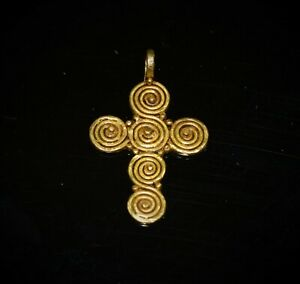 Ancient Roman Spiral Design Gold Cross With Filigree C 3rd Century A D