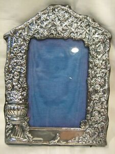 Antique Vintage Sterling Silver Repousse Picture Frame English Hallmarks