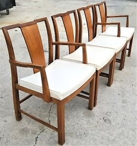 Set Of 4 Vtg Baker Furniture Mid Century Modern Splat Back 6235 Dining Chairs