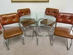 Vtg 6 Pc Stoneville Furniture Mcm Chrome Dining Set Mid Century Modern 1970 S