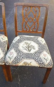 4 Antique English George Iii Chippendale Dining Chairs Floral Leopard Print