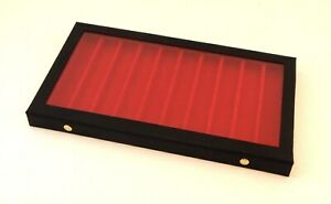 Clear View Acrylic Lid 10 Slot Pocket Knife Display Storage Case Red Liner
