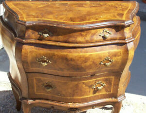 Antique Italian Empire Bombe Form Chest Drawers Marquetry Commode Nice Table