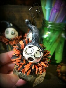 Grimmy Grim Reaper Block Head Halloween Feather Tree Ornament Scared Face