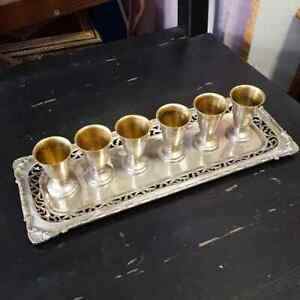 Beautiful Silver 800 Rectangular Tray And Six Small Cups