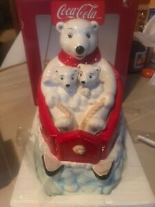 Vint Coke Coca Cola Cookie Jar Polar Bear Downhill Gibson Sledding In Box New