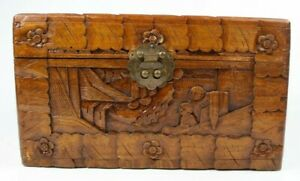 Vintage Hand Carved Wood Pictorial Scene Asian Hinged S Chinese Box Chest