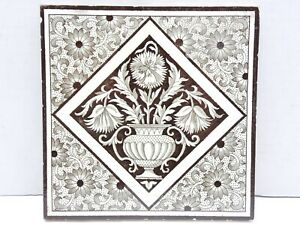 Antique Tile Victorian Aesthetic Arts Crafts Mintons China Works Floral Brown