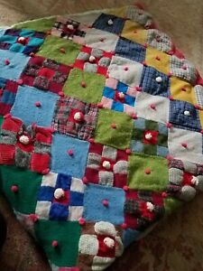 Antique 62 By 62 In Handmade Wool Quilt