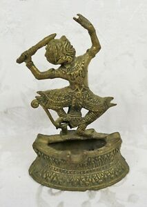 Rare Vintage Cast Metal Figural Thai Hanuman Monkey King Ashtray Statue