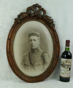 Antique Belgian Wood Carved Frame Officer Army Soldier Ww1 14 18 Photo Signed