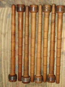 Vtg Lot Of 8 Industrial Wood Mill Textile 10 Ribbed Spindles Bobbins Spools