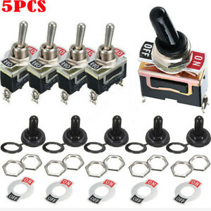 5pcs Waterproof Toggle Switch Flick On off Car Dash Light Metal 12 Volt 15a Spst