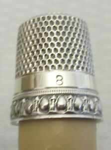 Antique Simons Sterling Silver Thimble Sz 8 Egg And Dart Pattern Band