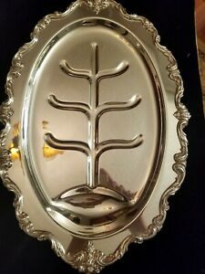 International Silver Co Silverplate Du Barry Meat Tray With Juice Tree Well