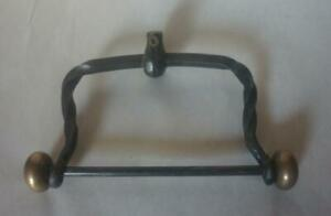 Vtg Wrought Cast Iron And Brass Toilet Paper Roll Holder