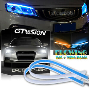 2x Switchback Signal Led Knight Rider Strip Light Sequential Drl Ice Blue Amber