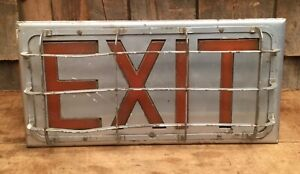 Vintage Light Up Intdustrial Metal Exit Door Sign Gas Service Station Steam Punk