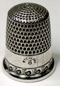 Antique Simons Bros Sterling Silver Thimble Wave Scroll Pattern C1900s