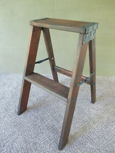 Vintage 2 Step Stepstool Folding Wood Stool Ladder Blue Paint 22 Tall