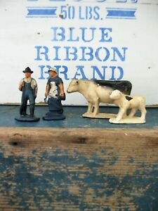 Antique Auburn Rubber Toy Farmers With Cow And Calf Free Shipping
