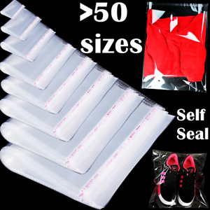 Bags Clear Resealable Self Sealing Adhesive Cello Lip Tape Plastic Poly Bag