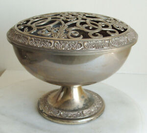 Large Silver Plated Ornate Rose Bowl