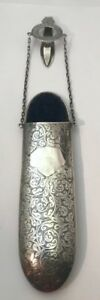 Antique English Sterling George Unite Eye Glass Case W Chatelaine Clip