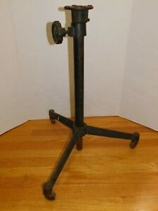 Antique Vtg Drafting Cast Iron Industrial Table Base Legs Rolling Machine