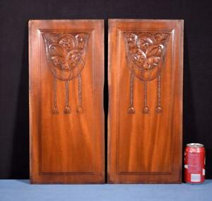Pair Of French Art Deco Hand Carved Panels In Mahogany Wood Salvage