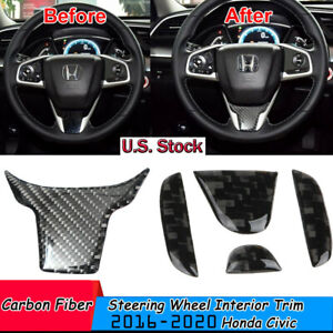 Glossy Carbon Fiber Steering Wheel Interior Trim Sticker For 2016 Honda Civic