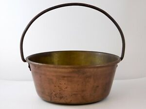 Vintage Rustic Copper Brass Solid Handled Pot Hammered Metal Country Cauldron