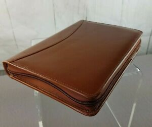 Brown Leather Planner 6 Ring Zip Around Refillable Barnes Noble 7x10