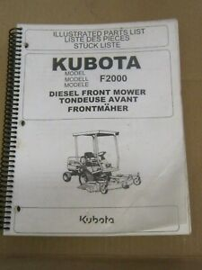 Kubota Model f2000 diesel Front Mower illustrated Parts List