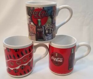 Coca Cola Mugs Set of 3 1997 Gibson Collectible Vintage Coca-Cola Memorabilia