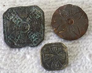 Lot Of 3 Antique Colonial Buttons Cast Design 1 5 8 Windmill Wheel Dk