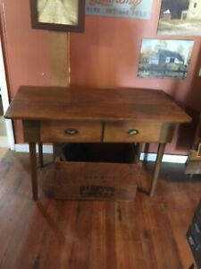 Antique Primitive Wooden Work Bench Table With Two Drawers 27 H 47 L 23 Deep